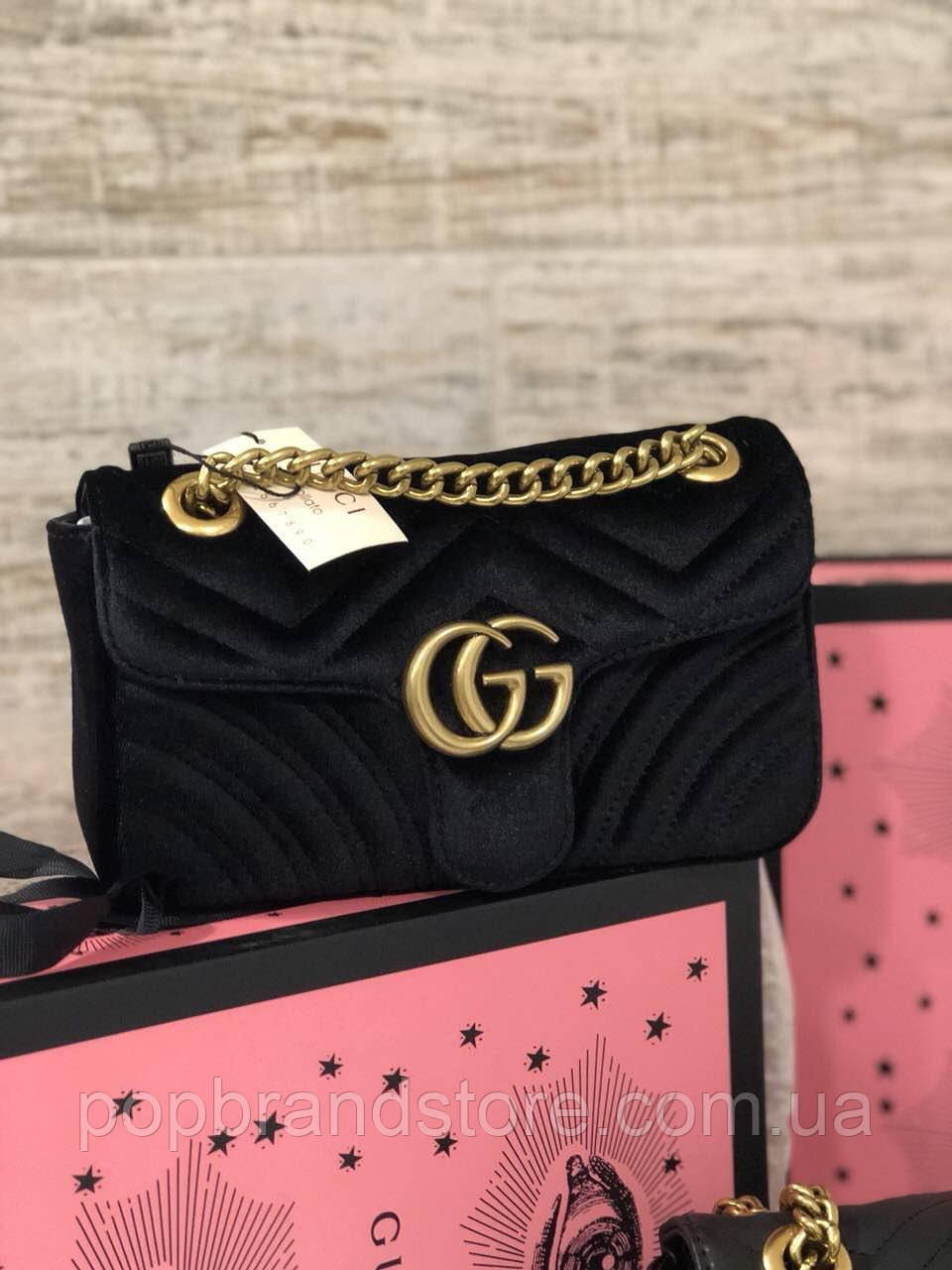 290f0bbb8ed3 Женская Сумочка на плечо Gucci  GG Marmont  22 cm бархат (реплика ...
