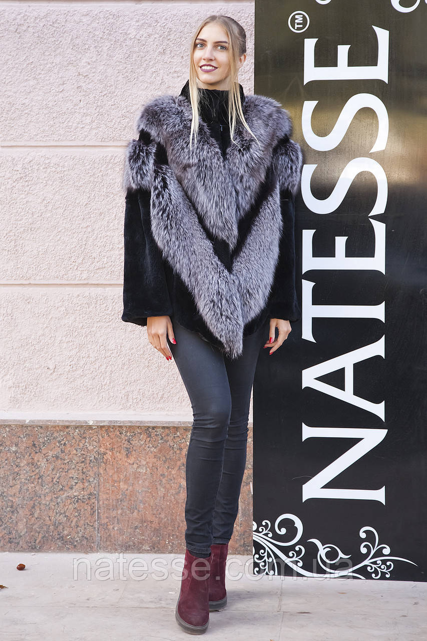 "Шуба из чернобурки и бобра ""Герда"" silver fox fur coat jacket"