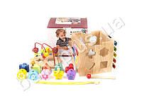 Деревянная игрушка Игра ксилофон, лабиринт на проволке, сортер, часы MD1080