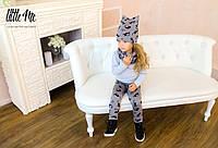 Теплая шапка + снуд для девочки ( коты)