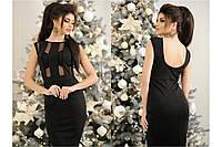 """Платье длины миди """"Марчела"""" с открытой спинкой, цвет черный, разные размеры., фото 1"""
