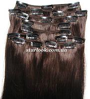 Набор натуральных волос на клипсах 38 см. Оттенок №2. Масса: 100 грамм.