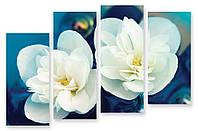 Модульная картина макро белые цветы