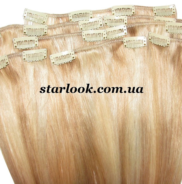 Набор натуральных волос на клипсах 38 см. Оттенок №18-613. Масса: 100 грамм.