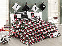 Комплект постельного белья  Hobby поплин размер евро Love красный