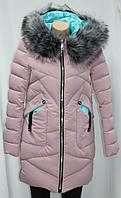 Куртка женская зимняя с капюшоном и мехом, розовая