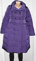 Пальто демисезонное женское, гламур, фиолетовое