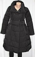 Пальто демисезонное женское, гламур, плащевка, черное