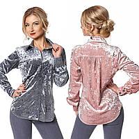 Бархатная женская рубашка с закругленным низом