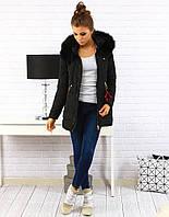 Женская зимняя куртка-пуховик асимметрично стеганая №1