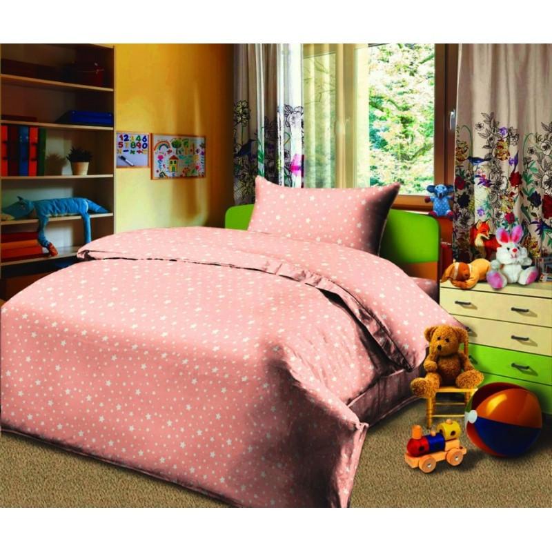 Постельное белье Звездопад персиковый бязь  ТМ Царский дом подростковый