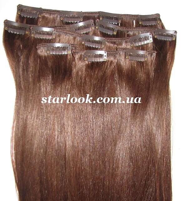 Набор натуральных волос на клипсах 60 см оттенок №4 160 грамм