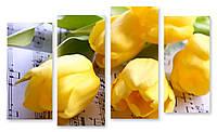 Модульная картина тюльпаны на нотах
