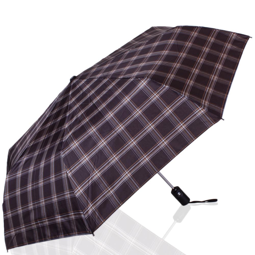 Классический мужской автоматический зонт, антиветер ТРИ СЛОНА RE-E-907L-9, цвет коричневый.