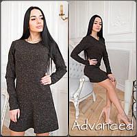 Платье твидовое мини черное
