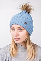 Вязанная женская шапка с меховым помпоном на зиму - Артикул 2122