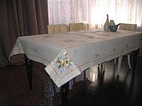 Модель 043. Цвет: ЛЬНЯНОЙ. Размер: 135*180 см. Скатерть льняная с рисунком и кантом.