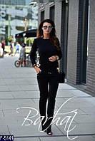 Стильный черный декорирован двухсторонней пайеткой женский спорт. костюмТрикотаж+Двухсторонняя пай Арт-15139