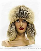 Зимняя меховая шапка ушанка из норки и фроста (к. лед)