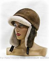 Женская шапка ушанка с козырьком (с.пастель)