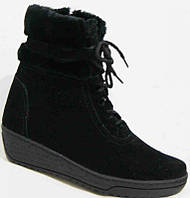 Зимние женские замшевые ботинки большого размера 36-44р на танкетке.