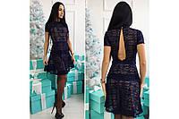 """Мини платье с гипюром """"Ализе"""",коктейльное вечернее платье длины мини., фото 1"""