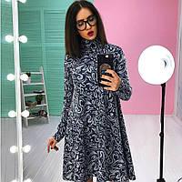 Платье теплое стильное из ангоры с воротником-гольф свободного кроя разные расцветки SMs1841