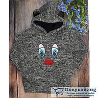 Тёплый джемпер серого цвета с капюшоном для девочки Размеры: 5-6-7-8 лет (5735-3)