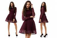"""Платье гипюровое, длинный рукав, платье длины мини """"Яна"""", разные цвета, размеры."""