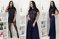 """Женское платье-двойка """"Франциска"""", цвет темно-синий, разные размеры."""