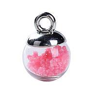 Подвеска Стеклянная Бутылка, Розовая, Светиться в темноте, 17мм x 12мм