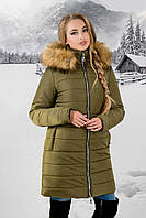 Зимняя куртка Флорида р. 44-54 Хаки-Мех бежевый