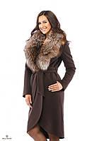 Стильное женское зимнее пальто Т-58 из кашемира с натуральным мехом.