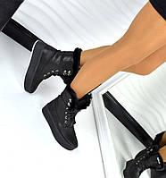 Зимние ботинки с меховой опушкой, материал натуральная кожа, мех под мутон