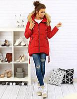 Женская зимняя куртка-пуховик асимметрично стеганая №4