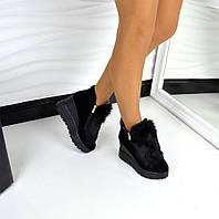 Зимние ботиночки с ушками натуральная замша, мех натуральный кролик (черный), внутри натуральная шерсть