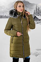 Зимняя куртка Флорида р. 44-54 Хаки-Мех серый