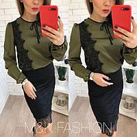 Шелковая женская блуза с кружевом в расцветках 41342