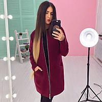 Пальто женское модное осеннее из кашемира на молнии 3 цвета 6Gb177