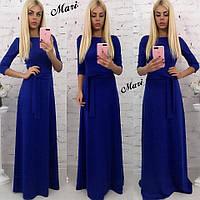Однотонное платье в пол с поясом на талии 6303289