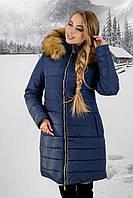 Зимняя куртка Флорида р. 44-54 Синий-Мех бежевый
