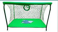 Манеж детский игровой KinderBox люкс Салатовый слоник с крупной сеткой (km 5517)