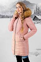 Зимняя куртка Флорида р. 44-54 Розовый-Мех бежевый