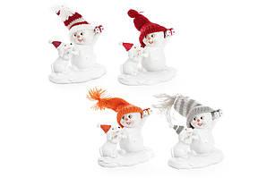 Декоративная новогодняя фигурка Снеговик с собакой 8см, 4 вида