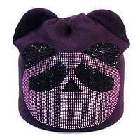 Стильная шапочка с мишкой из страз на флисовой подкладкеТМ Odyssey