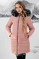 Зимняя куртка Флорида р. 44-54 Розовый-Мех серый