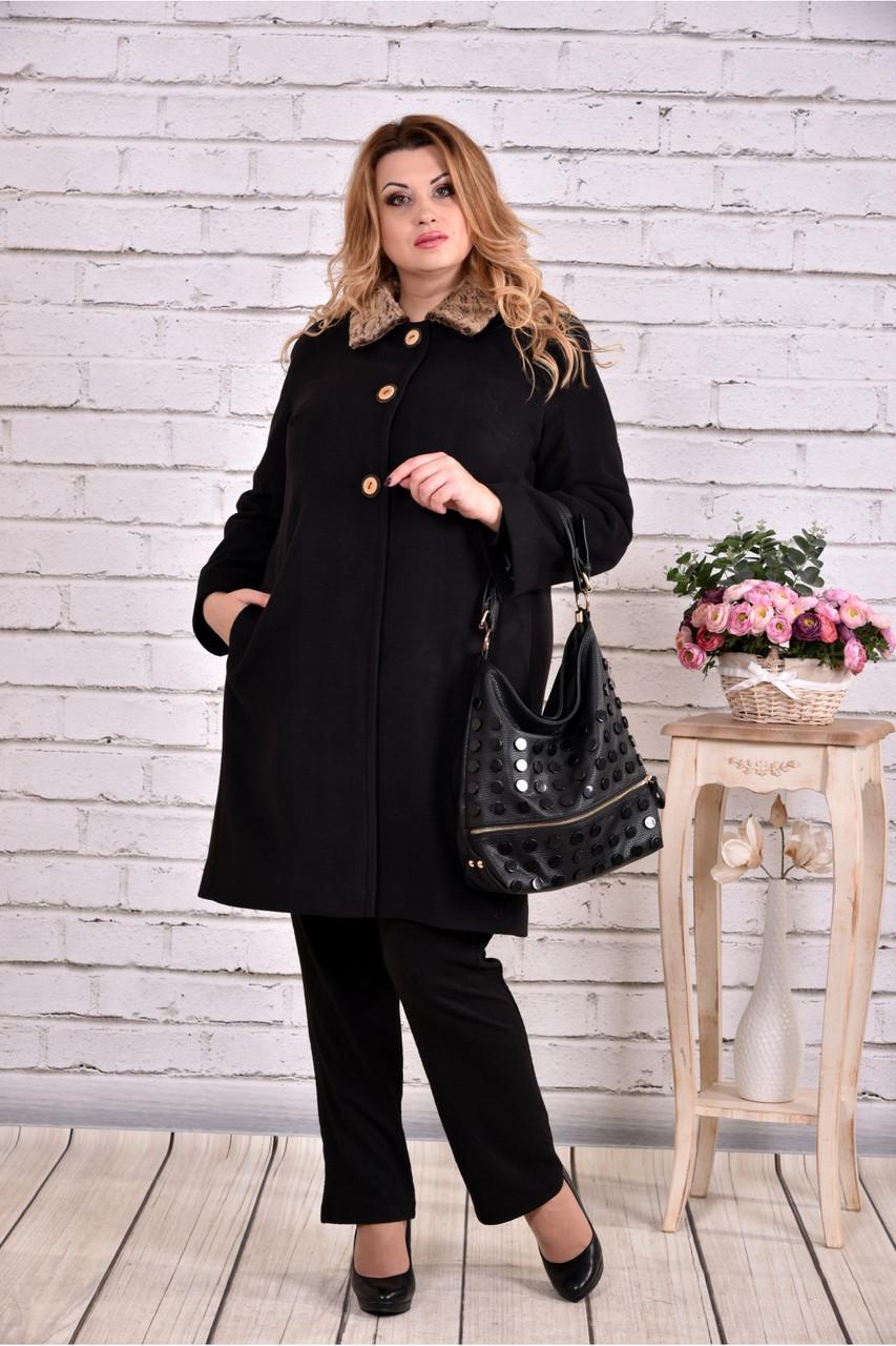 Женское зимнее кашемировое пальто T0647   размер 42-74   цвет черный ... d4735537e617d