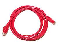 Патч-корд 2 м, UTP, Red, ATcom, литой, RJ45, кат.6е, медь, до 1 ГБ/с
