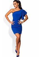 Платье на одно плечо с воланами синее