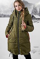 Удлиненная зимняя куртка Лиана р. 44-54 Хаки